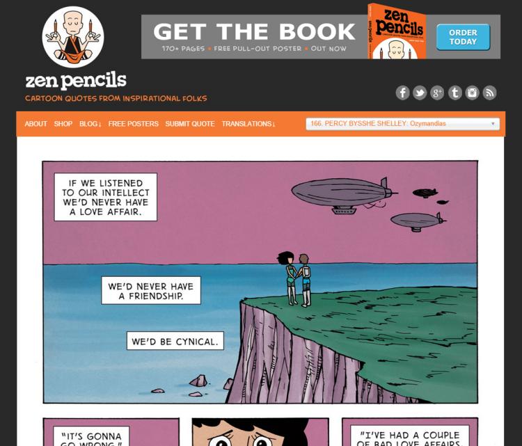 Screenshot of Zen Pencils site
